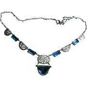 Art Deco Era Sterling Silver Blue Czech Glass Draping Bib Necklace