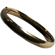 Krementz Signed Art Deco Era Gold-Filled Hinged Clamper Cuff Bangle Bracelet