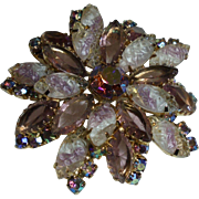 DeLizza & Elster Juliana Vintage Violet Cloudy-White AB Rhinestone Brooch