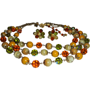 Vendome Autumn Colored Crystal 3 Strand Necklace & Earring Set Demi Parure