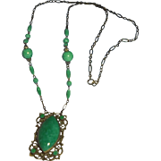Green Czech  Glass Lavaliere Necklace Deco Era