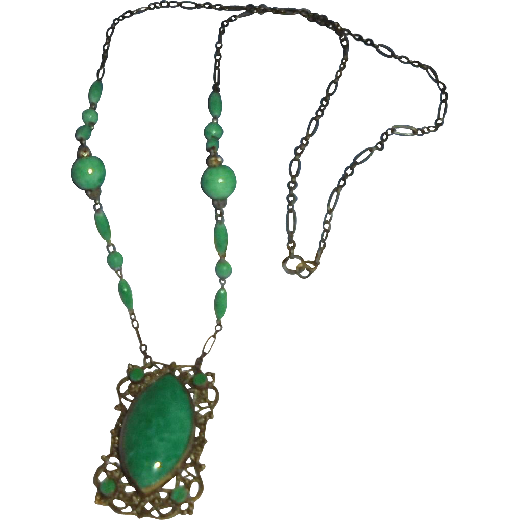 Green Czech Glass Lavaliere Necklace Deco Era Random Harvest Ruby Lane