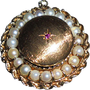 Large 14K Solid Gold Ruby Cultured Pearls Pendant Locket Rope Braided Trim