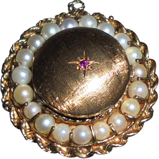 Vintage 14K Solid Gold Ruby Cultured Pearls Pendant Locket Rope Braided Trim