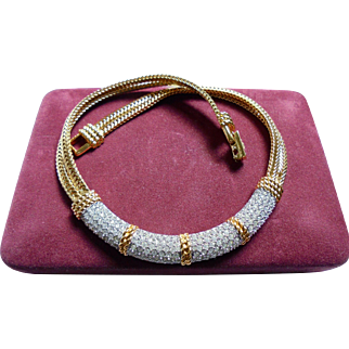 Vintage Swarovski Crystal Bib Twisted Rope Necklace