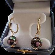 14K Gold Cloisonne Hoop Earrings Pierced
