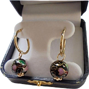 14K Gold Cloisonne Hoop Earrings Pierced