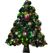 Vintage Watermelon Rivoli Christmas Tree Brooch