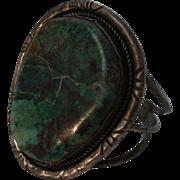 Giant Navajo Bracelet Sterling Silver Turquoise Cuff Signed JM