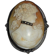 Rare Antique Sterling Cameo Lady With Diamond Choker Necklace