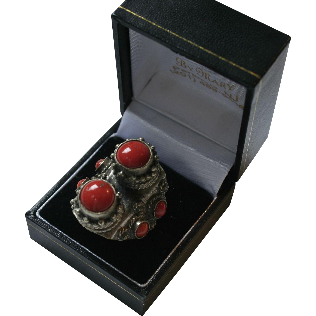 Etruscan Revival Coral & Silver Chunky Ring Size 7