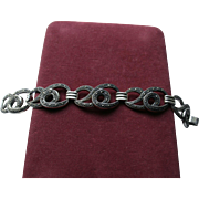Festive Sterling & Marcasite Chunky Fancy Link Bracelet