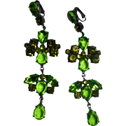 Giorgio Di Sant'Angelo Haute Couture Runway Green & Peridot Crystal Earrings New on Card