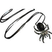 925 & Diamond Spider Pendant Necklace Sterling Silver Halloween