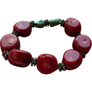 Genuine Red Coral & Turquoise Chunky Stretch Bracelet