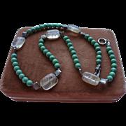 Vintage Genuine Turquoise & Quartz Beaded Necklace