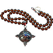 Sterling Silver Lapis Lazuli Pendant on Amber Czech Glass Beaded Necklace