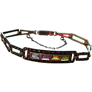 Sterling Silver Marcasite Multi Gemstone Bracelet w/ safety chain