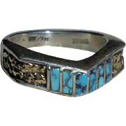14K Gold Nugget Inlaid Turquoise and Sterling Silver Ring Unisex Size 8