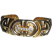 "Jawdropping 18K Gold Diamonds ""C"" Design Solid Cuff Bracelet Made in Italy Two-tone Mid-Century"