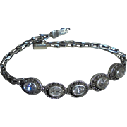 Beautiful Sterling Marcasite Crystal Link Bracelet