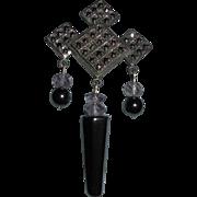 Sterling Silver Marcasite Hematite Dangling Brooch Beautiful