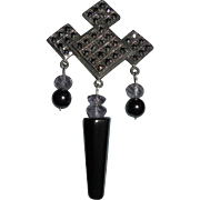 Sterling Silver Marcasite Hematite Dangling Brooch Beautiful