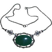 Germany Sterling Chrysoprase Art Deco Era Pendant Necklace Marcasites