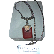Vintage Judith Jack NWT Sterling Silver Carnelian Marcasite Pendant Necklace