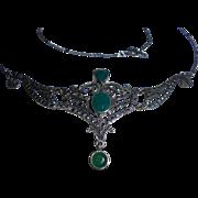 Art Deco Era Chrysoprase Sterling Silver and Marcasite Bib necklace