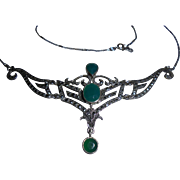 Art Deco Era Chrysoprase Sterling Silver and Marcasite Bib necklace