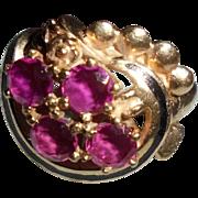 14K Gold Pink Sapphire Black Enamel Mid-Century Modern Black Enamel Ring Size 5