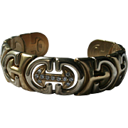 """40 Grams 18K Gold Diamonds """"C"""" Design Heavy Solid Gold Cuff Bracelet TCW.45  Made in Italy Two-tone Mid-Century"""