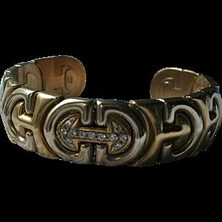 18K Gold Diamonds Italy Heavy Solid Gold Cuff Bracelet TCW.45  Two-tone Gold Mid-Century Mod Arrow Design