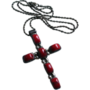 Sterling & Red Coral Large Cross Crucifix Pendant Necklace on Chunky Sterling Silver Chain