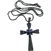 Large Sterling Amethyst Marcasite Cross / Crucifix Pendant Necklace Chunky Sterling Silver Chain