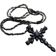 Chunky Sterling & Garnet Cross / Crucifix Pendant Necklace on Chunky OTC Sterling Silver Chain