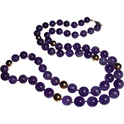 14K Gold  Amethyst 7.5 mm Beaded Necklace