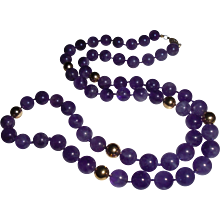 14K Gold  Amethyst 7.5 mm Beaded Necklace - Red Tag Sale Item
