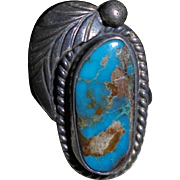 Navajo Melvin Thompson Natural Bisbee Turquoise Sterling Silver Signed Ring Size 5.5
