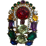 Rare Vintage Eisenberg Colorful Large Rhinestone Brooch