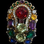 Rare Vintage Eisenberg Colorful Large Rhinestone Brooch