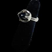 Sven Haugaard Space Age Sterling Silver Hematite Modernist Denmark Ring Size 5.75