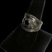 Chunky Sterling Silver Garnet Ring Size 11