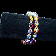 Vintage Millefiore Ventian Glass Double Strand Bracelet