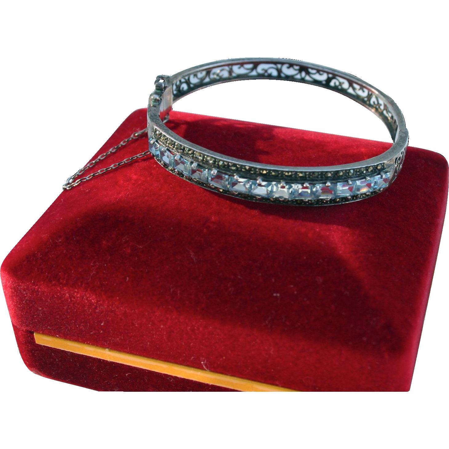 Sterling Blue Topaz Clamper Cuff Bracelet Random Harvest Ruby Lane