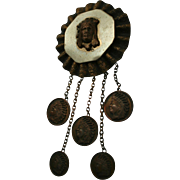 Rare c1920 Willemin Jewelry Providence Rhode Island Indian Head Coin Brooch