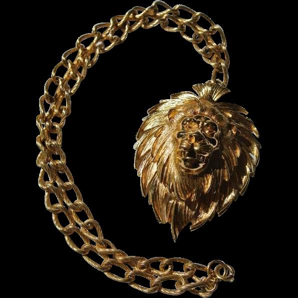 Rare Vintage Crown Trifari Huge Lion Watch Pendant Necklace