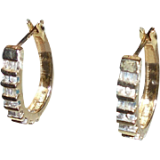 14K Gold Diamonds Hoop Earrings Baguette & Round Cut