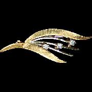 14K Gold Diamond Mid-Century Modernist Brooch 2 Tone Yellow & White Gold